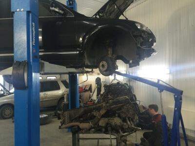 Снятие двигателя Volkswagen Touareg 2.5 D